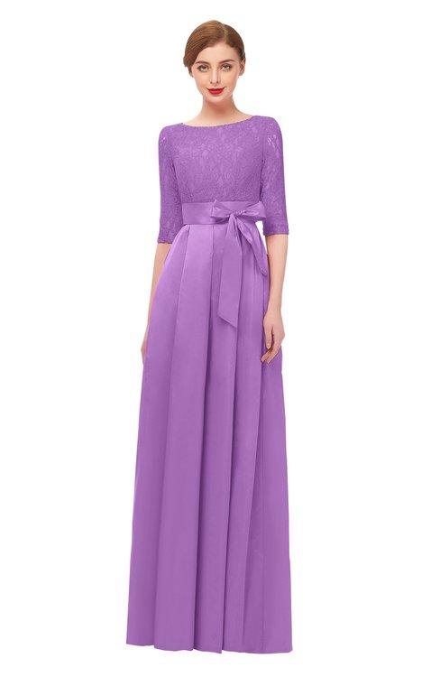 ColsBM Aisha Hyacinth Bridesmaid Dresses Sash A-line Floor Length Mature Sabrina Zipper