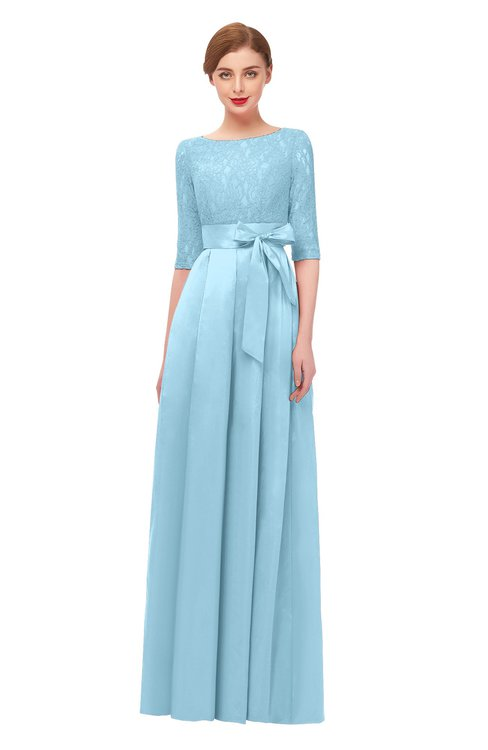 ColsBM Aisha Ice Blue Bridesmaid Dresses Sash A-line Floor Length Mature Sabrina Zipper