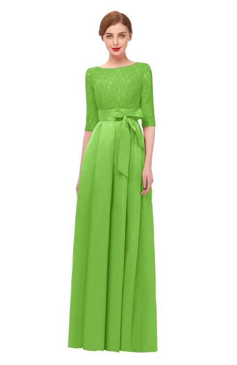 ColsBM Aisha Jasmine Green Bridesmaid Dresses Sash A-line Floor Length Mature Sabrina Zipper