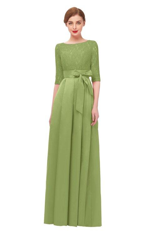 ColsBM Aisha Leaf Green Bridesmaid Dresses Sash A-line Floor Length Mature Sabrina Zipper