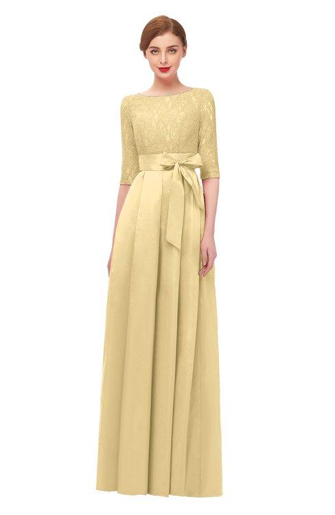 ColsBM Aisha Light Yellow Bridesmaid Dresses Sash A-line Floor Length Mature Sabrina Zipper