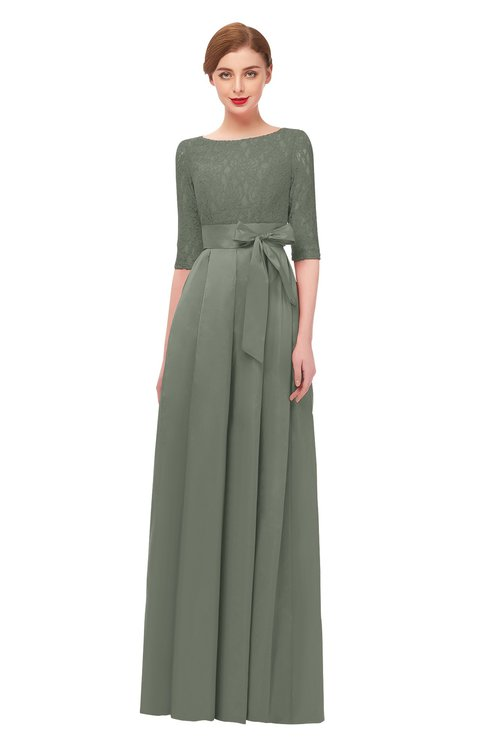 ColsBM Aisha London Fog Bridesmaid Dresses Sash A-line Floor Length Mature Sabrina Zipper