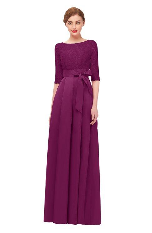 ColsBM Aisha Magenta Purple Bridesmaid Dresses Sash A-line Floor Length Mature Sabrina Zipper