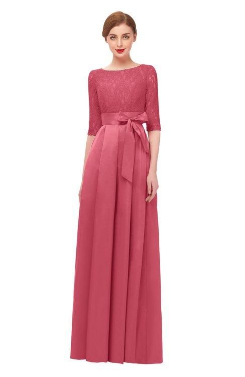 ColsBM Aisha Magenta Bridesmaid Dresses Sash A-line Floor Length Mature Sabrina Zipper