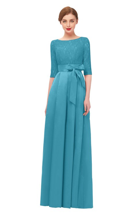 ColsBM Aisha Maui Blue Bridesmaid Dresses Sash A-line Floor Length Mature Sabrina Zipper