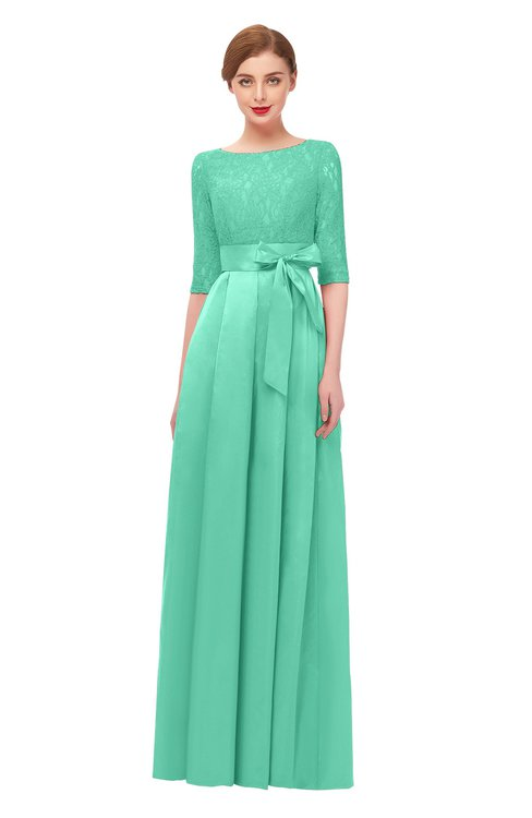 ColsBM Aisha Mint Green Bridesmaid Dresses Sash A-line Floor Length Mature Sabrina Zipper