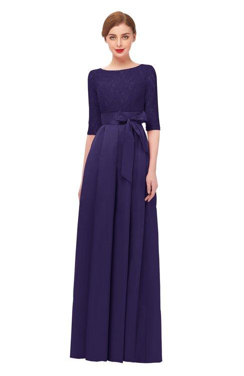 ColsBM Aisha Mulberry Purple Bridesmaid Dresses Sash A-line Floor Length Mature Sabrina Zipper