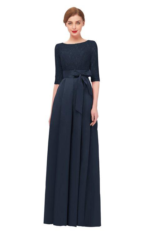 ColsBM Aisha Navy Blue Bridesmaid Dresses Sash A-line Floor Length Mature Sabrina Zipper