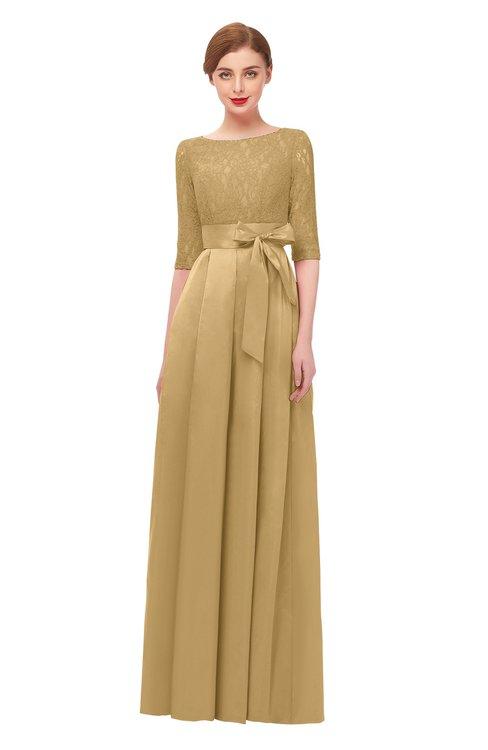 ColsBM Aisha New Wheat Bridesmaid Dresses Sash A-line Floor Length Mature Sabrina Zipper
