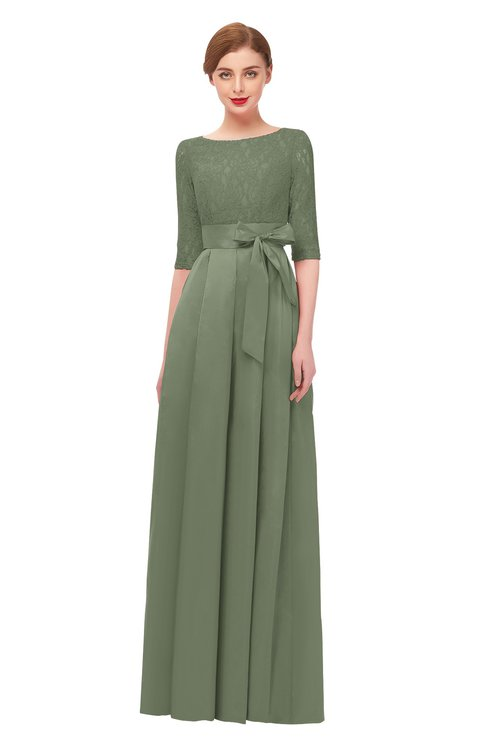 ColsBM Aisha Oil Green Bridesmaid Dresses Sash A-line Floor Length Mature Sabrina Zipper