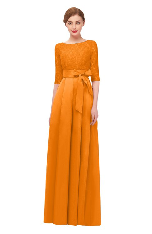 ColsBM Aisha Orange Bridesmaid Dresses Sash A-line Floor Length Mature Sabrina Zipper