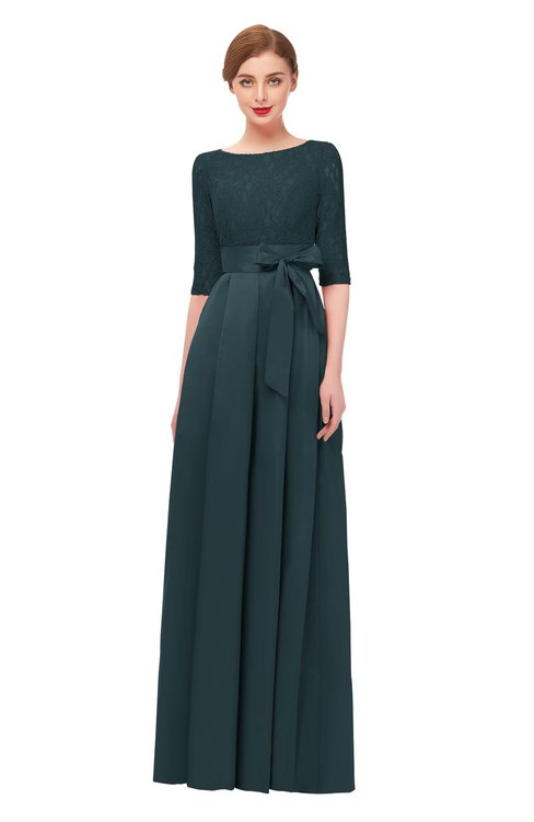 ColsBM Aisha Orion Blue Bridesmaid Dresses Sash A-line Floor Length Mature Sabrina Zipper