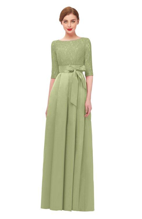 ColsBM Aisha Pistachio Bridesmaid Dresses Sash A-line Floor Length Mature Sabrina Zipper