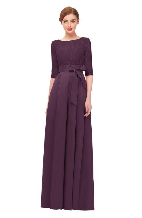 ColsBM Aisha Plum Bridesmaid Dresses Sash A-line Floor Length Mature Sabrina Zipper