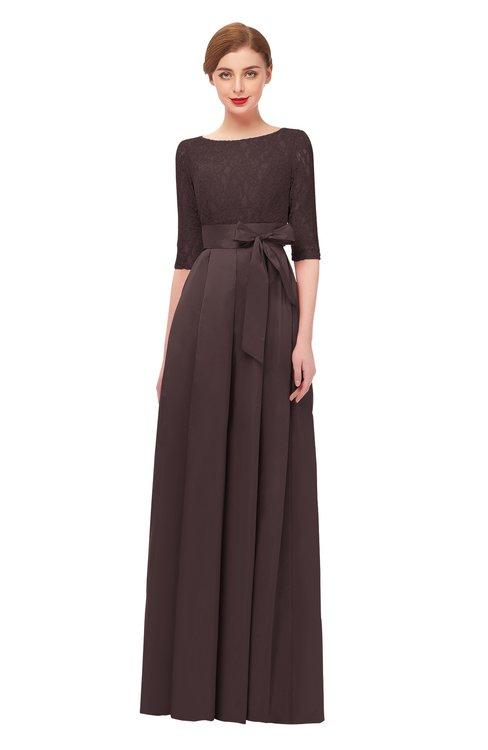 ColsBM Aisha Puce Bridesmaid Dresses Sash A-line Floor Length Mature Sabrina Zipper