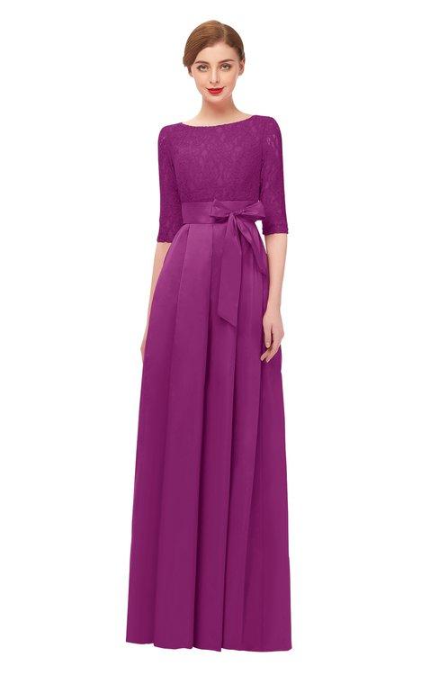 ColsBM Aisha Raspberry Bridesmaid Dresses Sash A-line Floor Length Mature Sabrina Zipper
