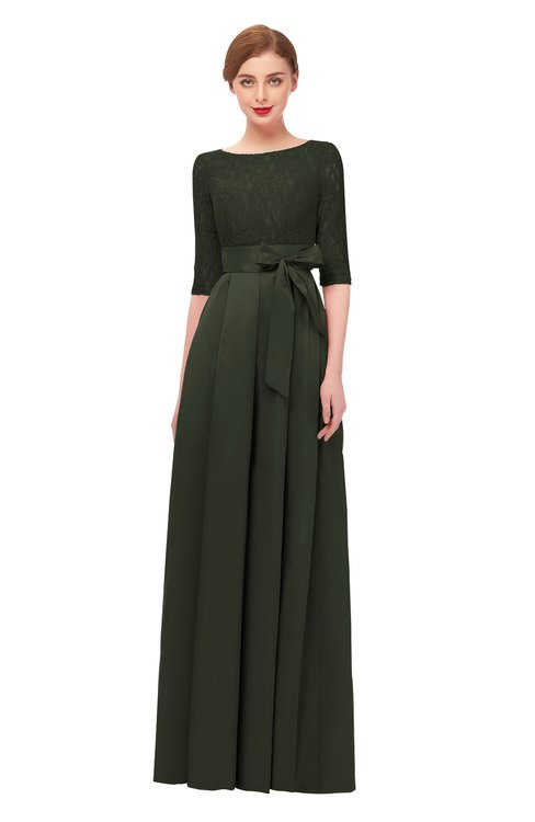 ColsBM Aisha Rifle Green Bridesmaid Dresses Sash A-line Floor Length Mature Sabrina Zipper