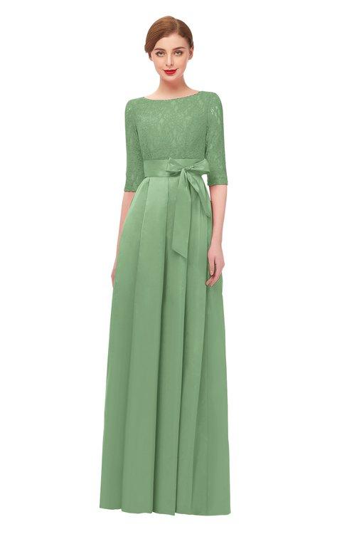 ColsBM Aisha Sage Green Bridesmaid Dresses Sash A-line Floor Length Mature Sabrina Zipper