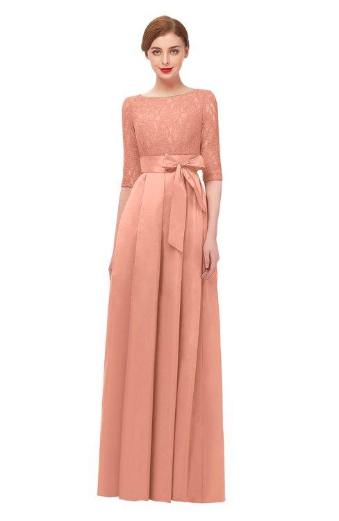 ColsBM Aisha Salmon Bridesmaid Dresses Sash A-line Floor Length Mature Sabrina Zipper