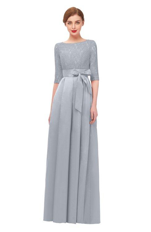 ColsBM Aisha Silver Bridesmaid Dresses Sash A-line Floor Length Mature Sabrina Zipper