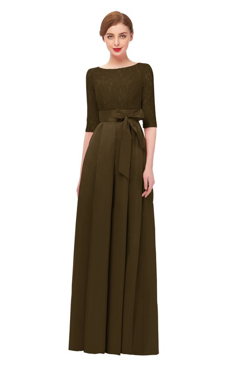 ColsBM Aisha Slate Black Bridesmaid Dresses Sash A-line Floor Length Mature Sabrina Zipper