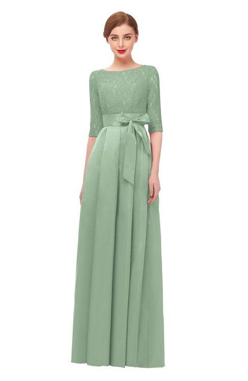 ColsBM Aisha Smoke Green Bridesmaid Dresses Sash A-line Floor Length Mature Sabrina Zipper