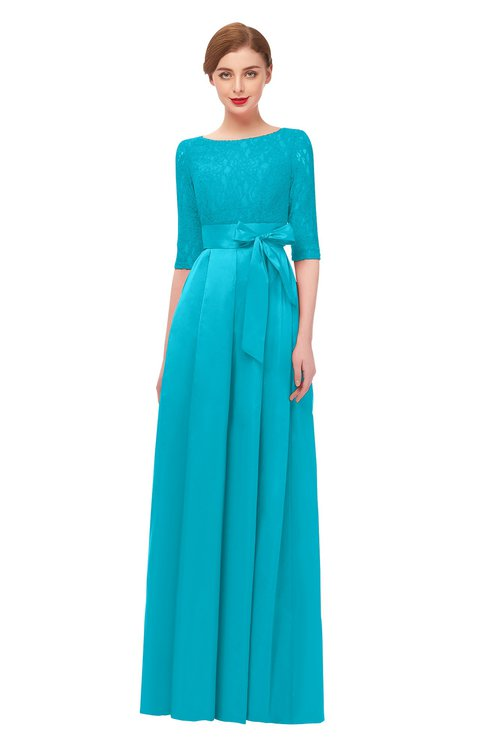 ColsBM Aisha Teal Bridesmaid Dresses Sash A-line Floor Length Mature Sabrina Zipper