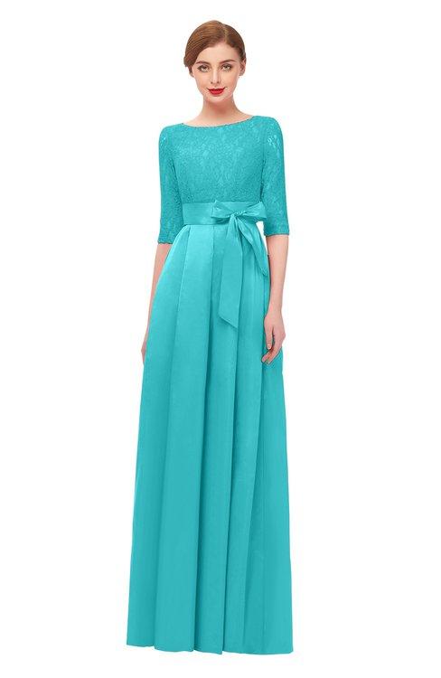 ColsBM Aisha Turquoise Bridesmaid Dresses Sash A-line Floor Length Mature Sabrina Zipper