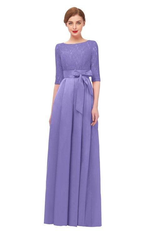 ColsBM Aisha Violet Tulip Bridesmaid Dresses Sash A-line Floor Length Mature Sabrina Zipper