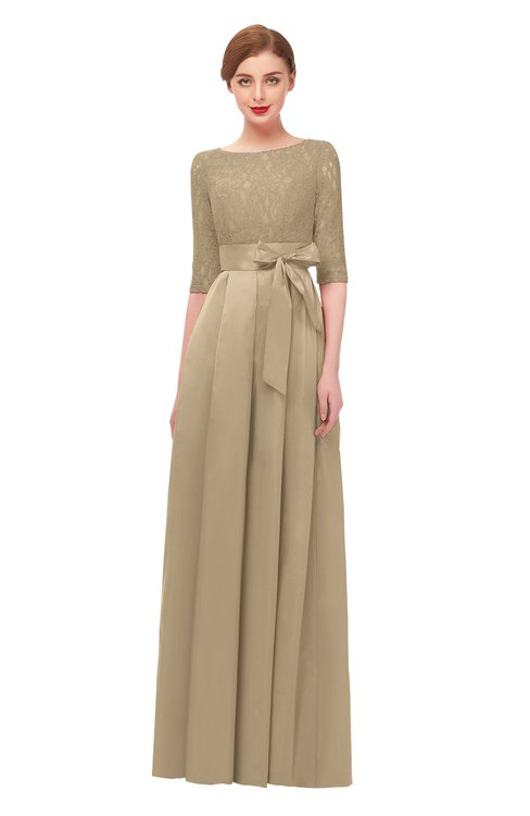 ColsBM Aisha Warm Sand Bridesmaid Dresses Sash A-line Floor Length Mature Sabrina Zipper