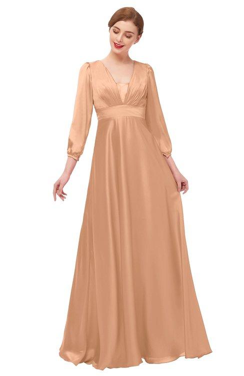 ColsBM Andie Apricot Bridesmaid Dresses Ruching Modest Zipper Floor Length A-line V-neck