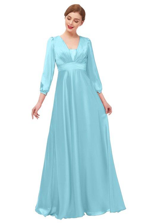 ColsBM Andie Aqua Bridesmaid Dresses Ruching Modest Zipper Floor Length A-line V-neck