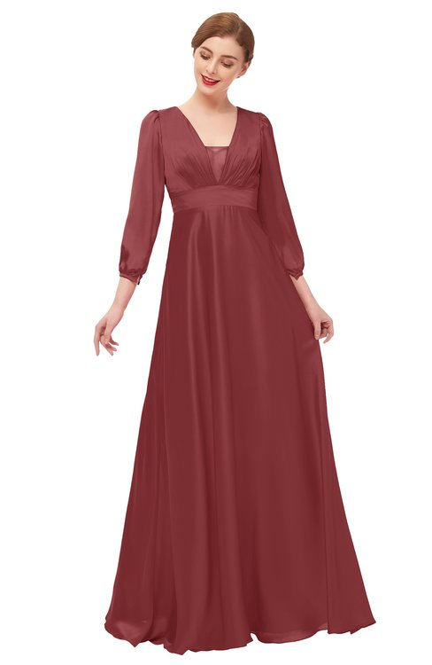 ColsBM Andie Aurora Red Bridesmaid Dresses Ruching Modest Zipper Floor Length A-line V-neck