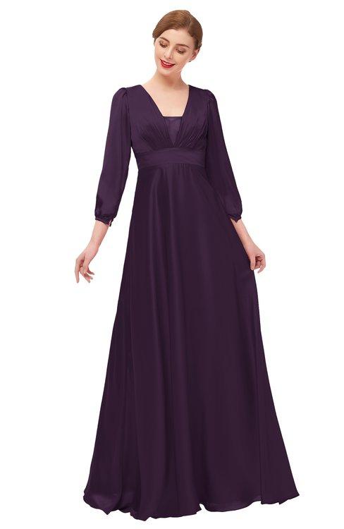 ColsBM Andie Blackberry Wine Bridesmaid Dresses Ruching Modest Zipper Floor Length A-line V-neck