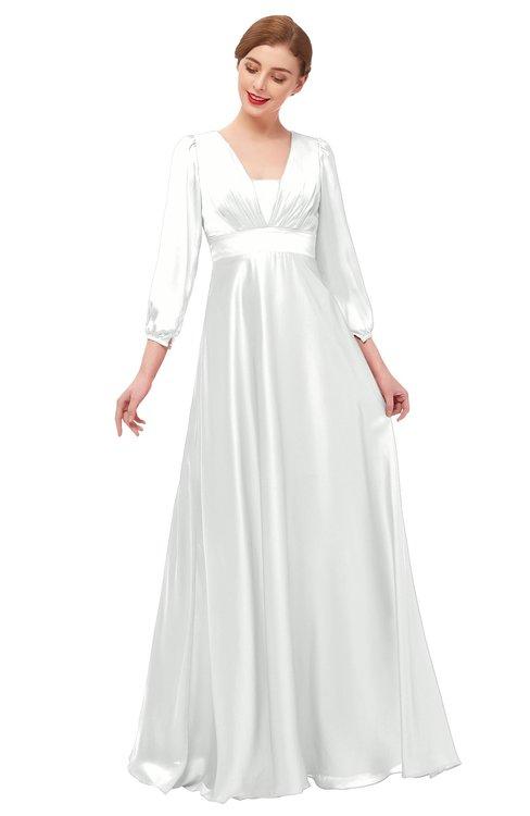 ColsBM Andie Blanc De Blanc Bridesmaid Dresses Ruching Modest Zipper Floor Length A-line V-neck