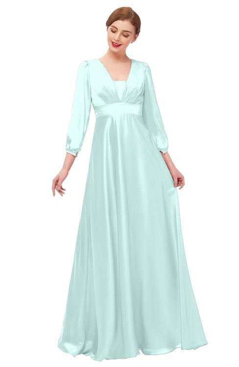 ColsBM Andie Blue Glass Bridesmaid Dresses Ruching Modest Zipper Floor Length A-line V-neck