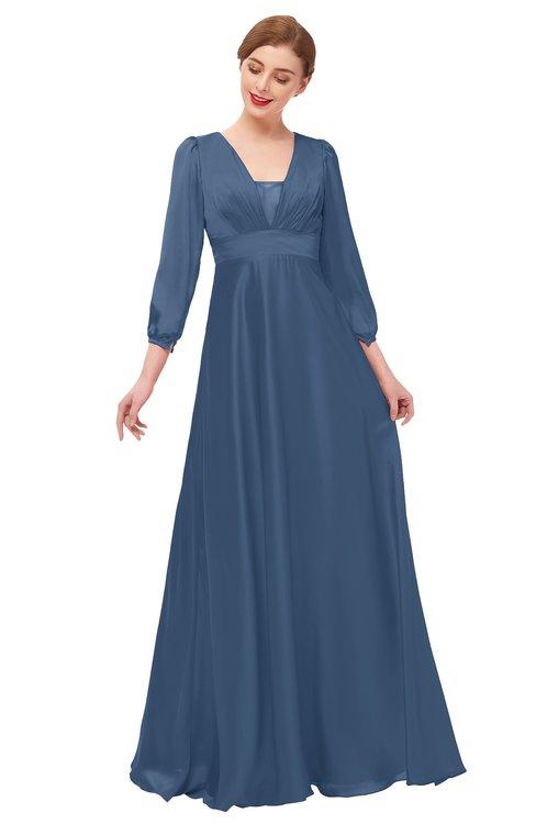 ColsBM Andie Blue Indigo Bridesmaid Dresses Ruching Modest Zipper Floor Length A-line V-neck