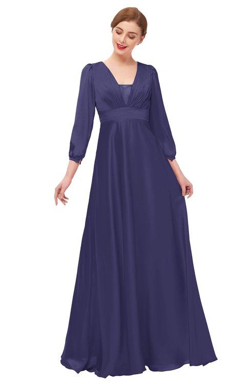 ColsBM Andie Blue Ribbon Bridesmaid Dresses Ruching Modest Zipper Floor Length A-line V-neck