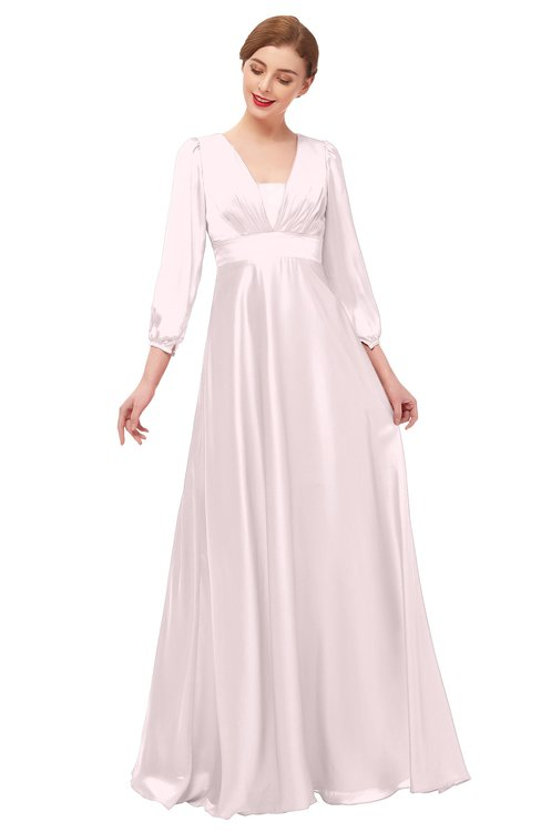 ColsBM Andie Blush Bridesmaid Dresses Ruching Modest Zipper Floor Length A-line V-neck