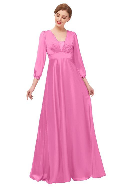 ColsBM Andie Carnation Pink Bridesmaid Dresses Ruching Modest Zipper Floor Length A-line V-neck