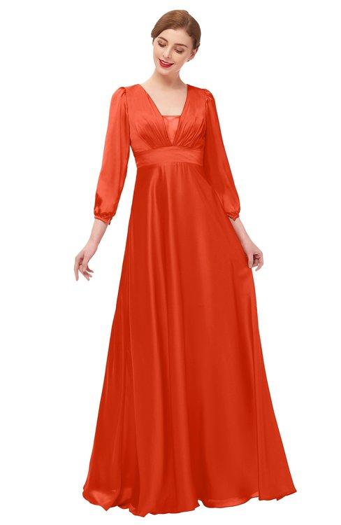 ColsBM Andie Cherry Tomato Bridesmaid Dresses Ruching Modest Zipper Floor Length A-line V-neck