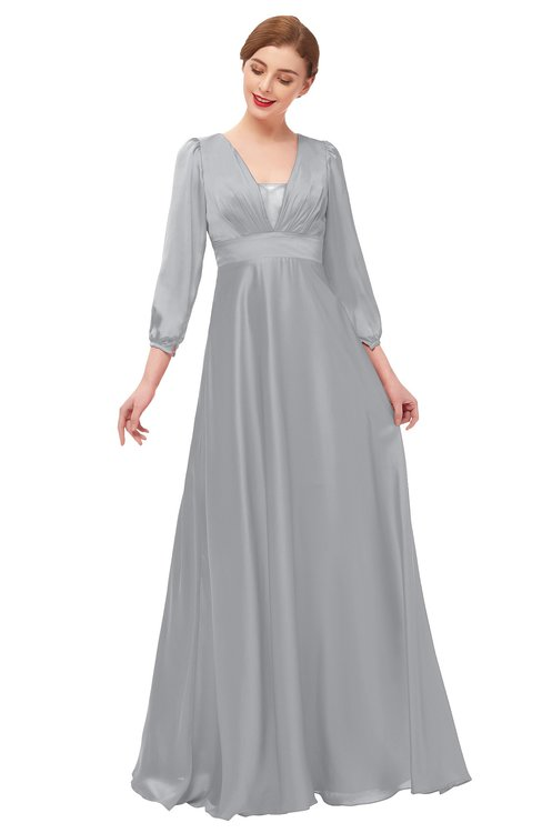 ColsBM Andie Cloud Gray Bridesmaid Dresses Ruching Modest Zipper Floor Length A-line V-neck