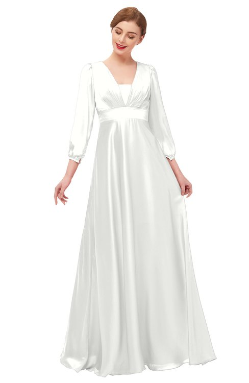ColsBM Andie Cloud White Bridesmaid Dresses Ruching Modest Zipper Floor Length A-line V-neck