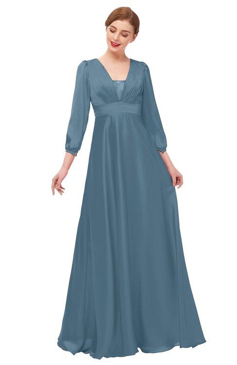 ColsBM Andie Copen Blue Bridesmaid Dresses Ruching Modest Zipper Floor Length A-line V-neck