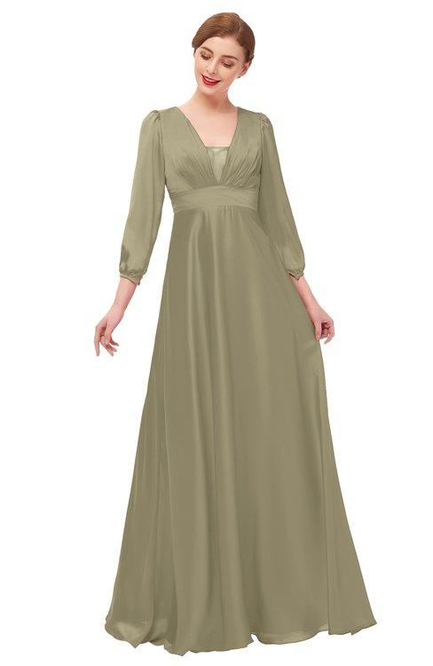 ColsBM Andie Cornstalk Bridesmaid Dresses Ruching Modest Zipper Floor Length A-line V-neck