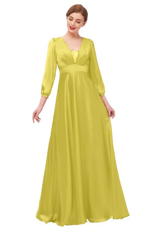ColsBM Andie Cream Gold Bridesmaid Dresses Ruching Modest Zipper Floor Length A-line V-neck