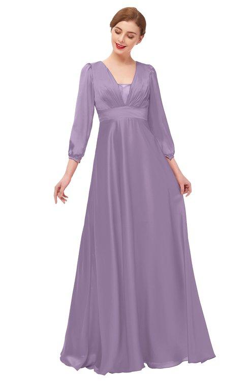 ColsBM Andie Eggplant Bridesmaid Dresses Ruching Modest Zipper Floor Length A-line V-neck