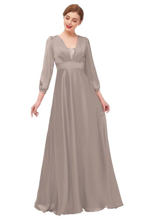 ColsBM Andie Etherea Bridesmaid Dresses Ruching Modest Zipper Floor Length A-line V-neck