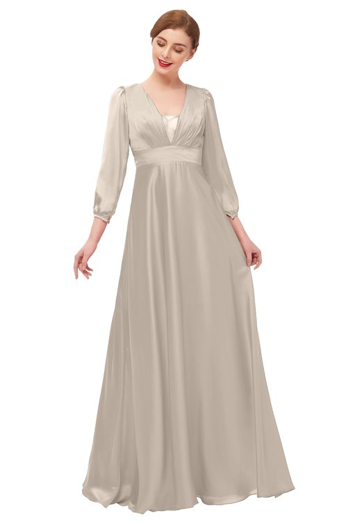 ColsBM Andie Fawn Bridesmaid Dresses Ruching Modest Zipper Floor Length A-line V-neck