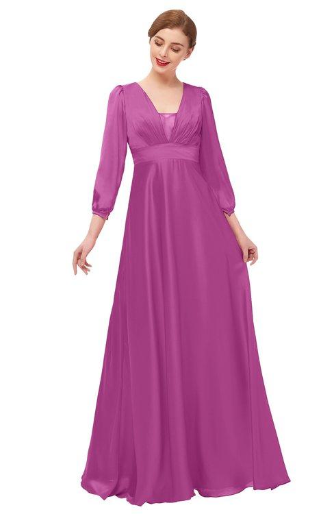 ColsBM Andie Festival Fuchsia Bridesmaid Dresses Ruching Modest Zipper Floor Length A-line V-neck